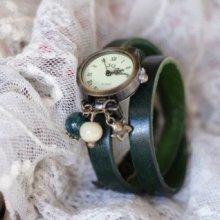 Montre bracelet triple cuir Vert Petit ange