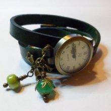 Montre triple cuir vert Noeud et perles
