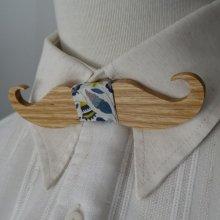 Noeud papillon Moustache en chêne à graver au ruban Libery