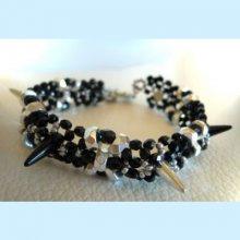 Notice Bracelet Spikes Noir argent