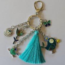 Porte-clé pendentifs Oiseau et poule pompon turquoise