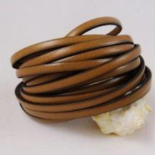 Lacet cuir 5 mm Marron clair par 20 cm