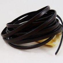 Lacet cuir 5 mm Marron foncé par 20 cm