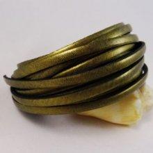 Lacet cuir 5 mm Or mat par 20 cm