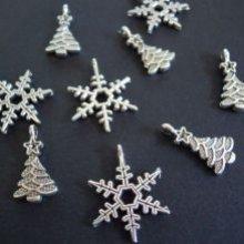 Breloques de Noël : sapin et flocon